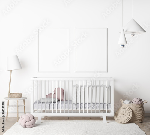 Mock Up Wall In farmhouse Interior Background in baby room with poster frame, nursery mockup, Scandinavian Style, 3D render, 3D illustration