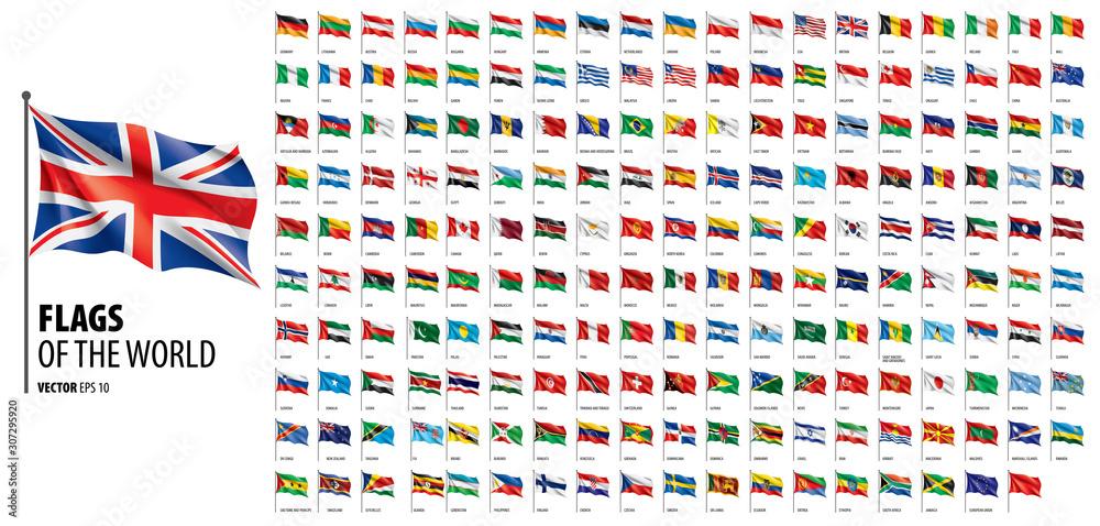 Flagi narodowe krajów. Wektorowa ilustracja na białym tle <span>plik: #307295920 | autor: butenkow</span>