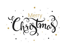 Black And Golden Merry Christmas Font On White Background Can Be Used As Greeting Card Design.