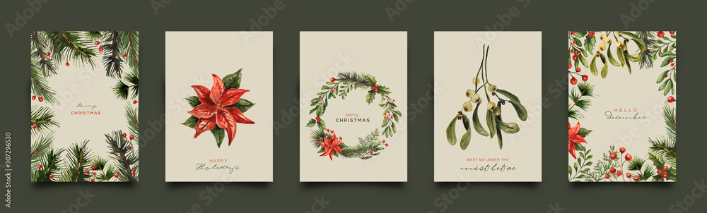 Holiday Greeting Card Collection. Vector Illustration.