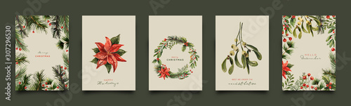 Fotografering Holiday Greeting Card Collection. Vector Illustration.