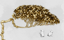 Golden Curved Tree With A Lush Crown On A Gray Background, Embossed Pair Of Rabbits