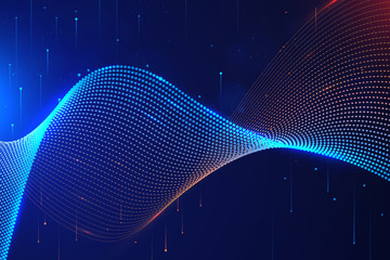 Abstract dot pattern curve and glowing effect