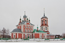 Beautiful Church Of The Forty Martyrs With Belltower On Shore Of Plescheevo Lake In Pereslavl-Zalessky, Russian Golden Ring Landmark In Winter Day