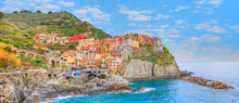 Beautiful Colorful Cityscape On The Mountains Over Mediterranean Sea  Europe  Cinque Terre