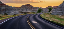 Road In Badlands Mountains