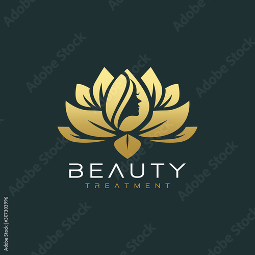 lotus flower beauty salon and hair treatment logo - fototapety na wymiar