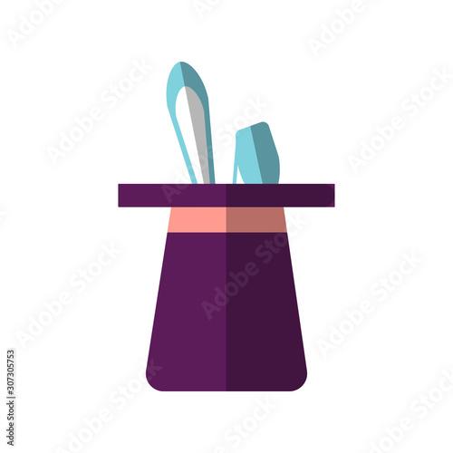 Photo Vector flat design, illustration of magic black hat rabbit inside and sticking bunny years
