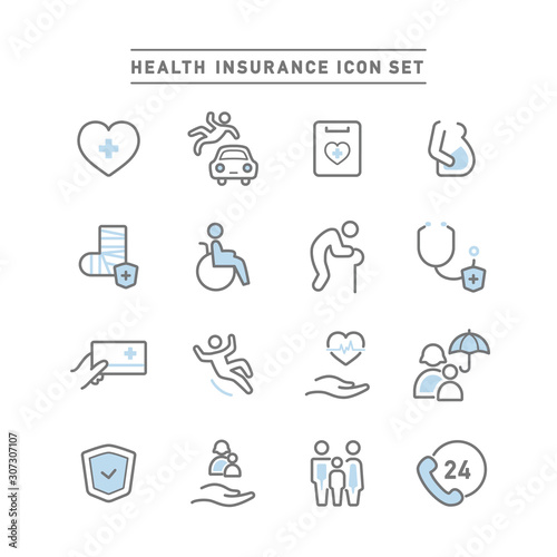 Stampa su Tela HEALTH INSURANCE ICON SET
