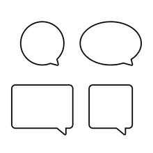 Blank Black Border Speech Bubbles. Vector Illustration.