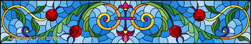 Fototapeta Illustration in stained glass style with abstract  swirls,flowers and leaves  on