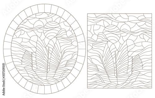 Fotografie, Obraz  Set of contour illustrations with sailing ships, dark contours on a white backgr