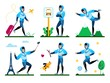Young Man Summer Time Activities, Active Lifestyle Trendy Flat Vector Set. Happy Guy Pulling Luggage Bag, Waiting Bus on Stop, Shooting Selfie in Trip, Walking with Dog, Playing Ball Illustration