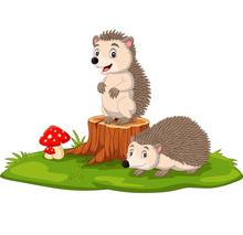 Cartoon Two Baby Hedgehog On Tree Stump
