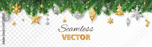 obraz PCV Vector Christmas decoration. Christmas tree border, frame with golden ornaments.