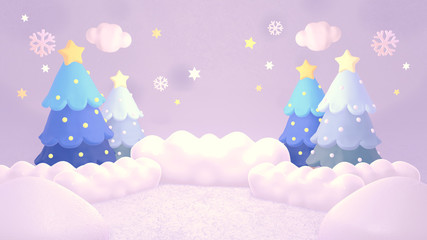 Beautiful Christmas winter landscape. 3d rendering picture.