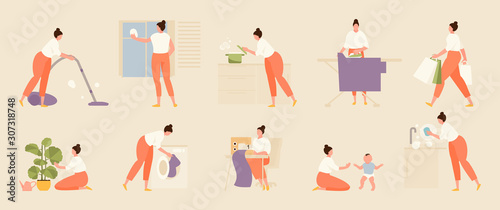 Tela Woman housewife does various housework. Vector set illustration