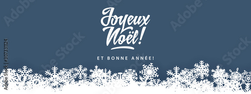 Obraz Joyeux Noel - Merry Christmas in french language blue flat card template with decorative design elements, snowflakes - fototapety do salonu
