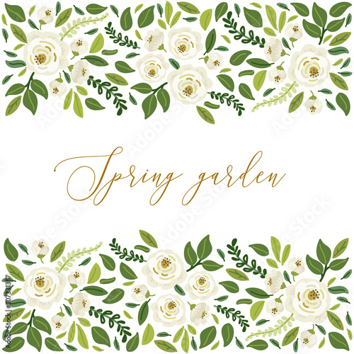 Fototapety, obrazy: Cute botanical theme floral background with bouquets of hand drawn rustic white roses flowers and green leaves branches