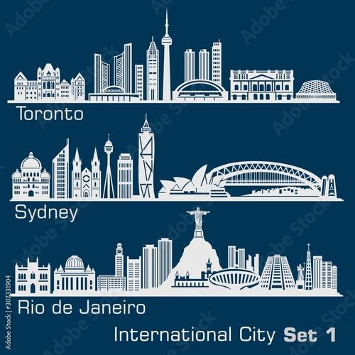 International City - Toronto, Sydney, Rio de Janeiro Canvas Print