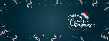Merry Christmas And Happy New Year Text On Dark Blue Banner Background
