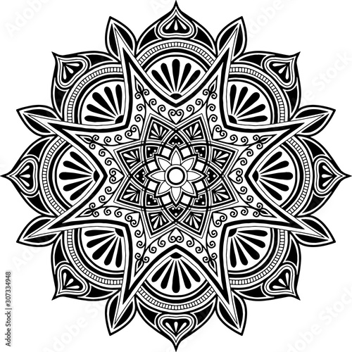 Mandala pattern black and white doodles sketch Wallpaper Mural