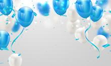 Blue White Balloons, Confetti ...