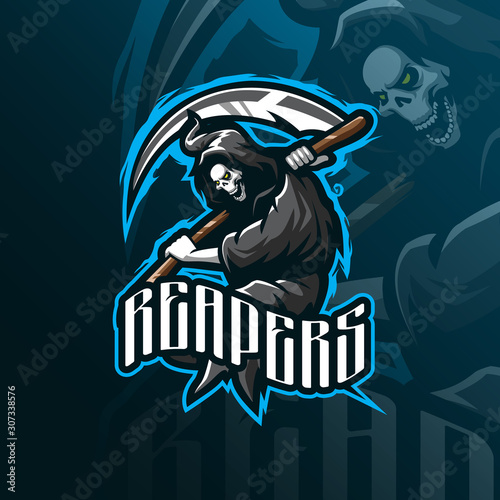 reaper mascot logo design vector with modern illustration concept style for badge, emblem and tshirt printing Canvas Print