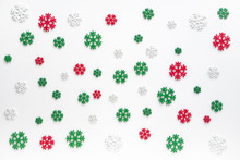 Snowflakes Pattern Background. White , Red And Green Snowflake Isolated On White For Christmas Or Winter Seasonal