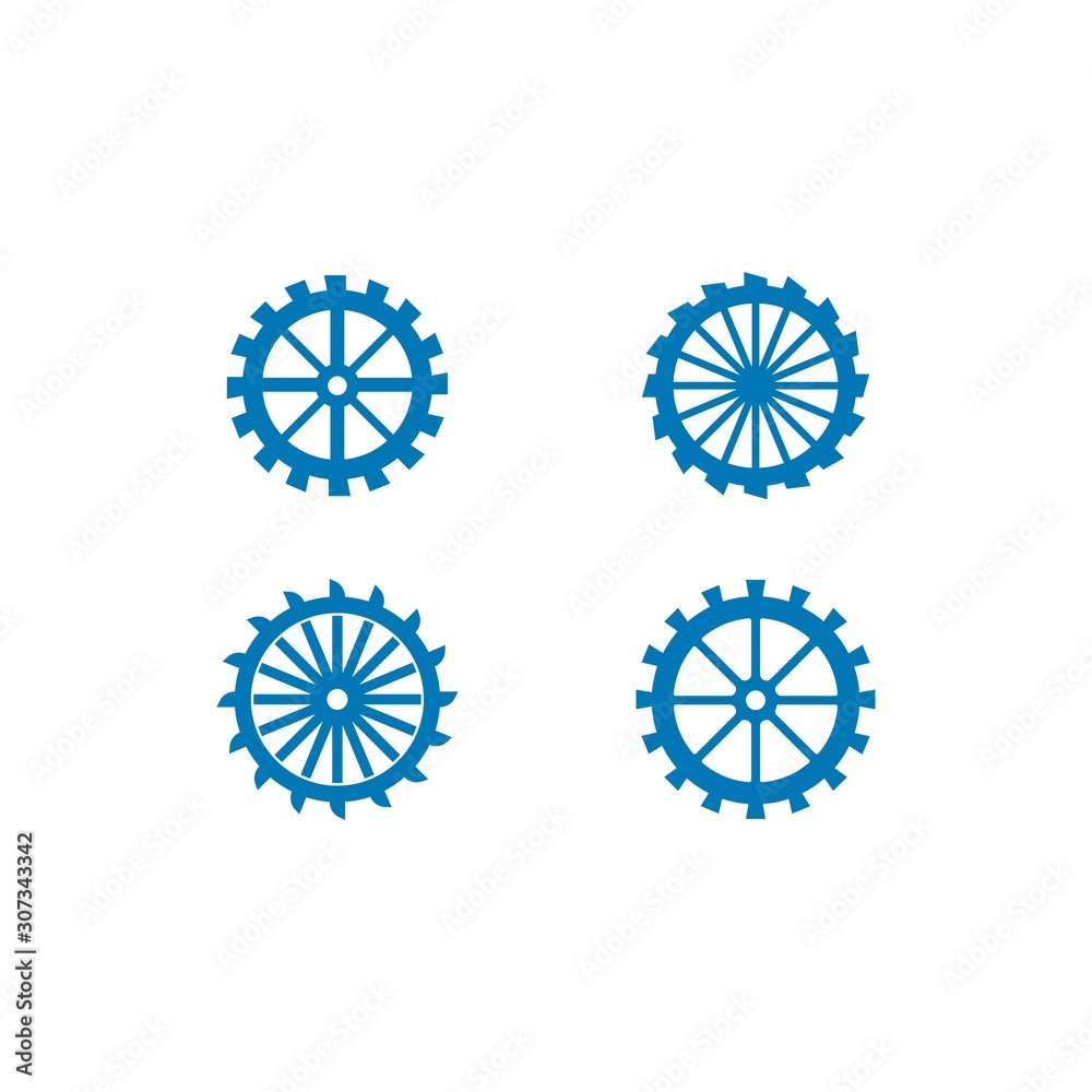 Fotografia Water mill logo vector icon concept illustration design