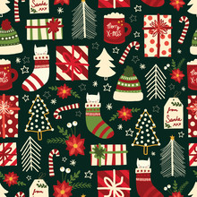 Cute Christmas Seamless Vector...