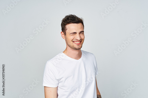 portrait of young handsome man isolated on white background