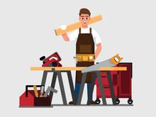 Carpenter Man  ,Vector Illustration Cartoon Character.