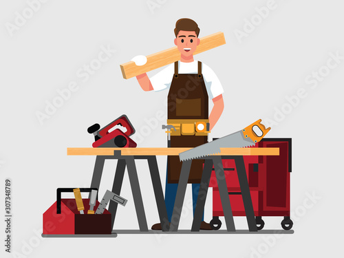 Fotografiet carpenter man  ,Vector illustration cartoon character.