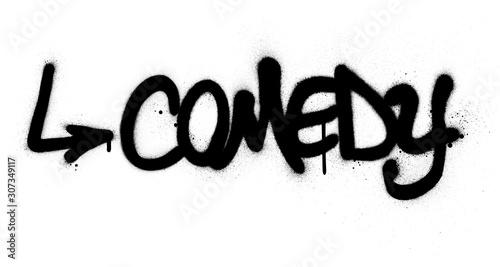 Obraz graffiti comedy word sprayed in black over white - fototapety do salonu
