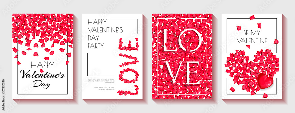 Fototapeta Set of greeting cards for Valentine's Day, February 14. Red rose petals and black text on the white background. Vector illustration for card, invitation, postcard, flyer, banner, cover, poster.