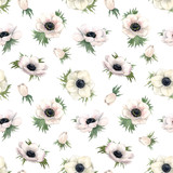 Beautiful watercolor floral seamless pattern with anemone flowers. Stock illustration.