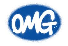 Graffiti OMG Abbreviation Sprayed In White Over Blue Oval Shape