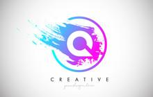 Q Artistic Brush Letter Logo Design In Purple Blue Colors Vector