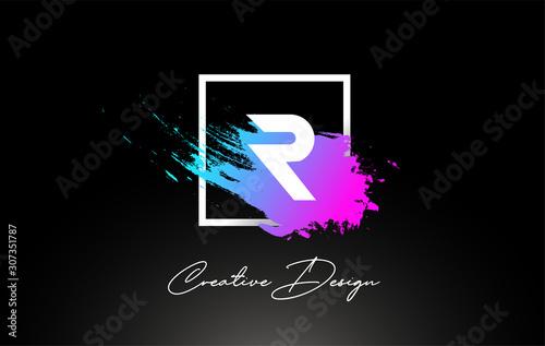 Fotografiet R Artistic Brush Letter Logo Design in Purple Blue Colors Vector