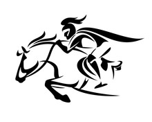 Medieval Fantasy Knight Riding Horse - Speeding Forward Fairy Tale Hero Warrior Black And White Vector Outline