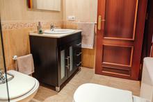 Interior Of Tidy Bathroom With...