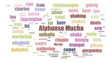 Alphonse Mucha Tagcloud Animated Isolated On White