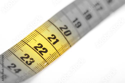 Fotografia  Measuring tape, selective focus on 22