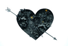 Black Paper Flowers, Floral Background, Bridal Bouquet, Wedding, Quilling, Valentine's Day Greeting Card, Heart Shape