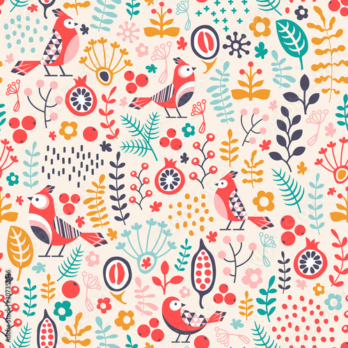 obraz lub plakat seamless pattern with birds and plant ornament