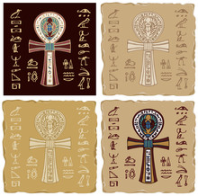 Set Of Vector Banners With Coptic Cross And Hieroglyphs. The Religious Sign Of Ancient Egypt Is The Ankh Cross, Life Key. Advertising Posters Or Flyers For Travel Agency In The Form Of Ceramic Tiles