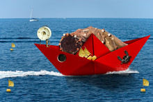 Red Paper Fishing Boat With Fi...
