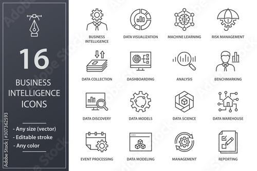Business Intelligence line icons set Fototapet