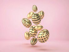 Falling Golden Easter Eggs With Different Pattern On Pink Background